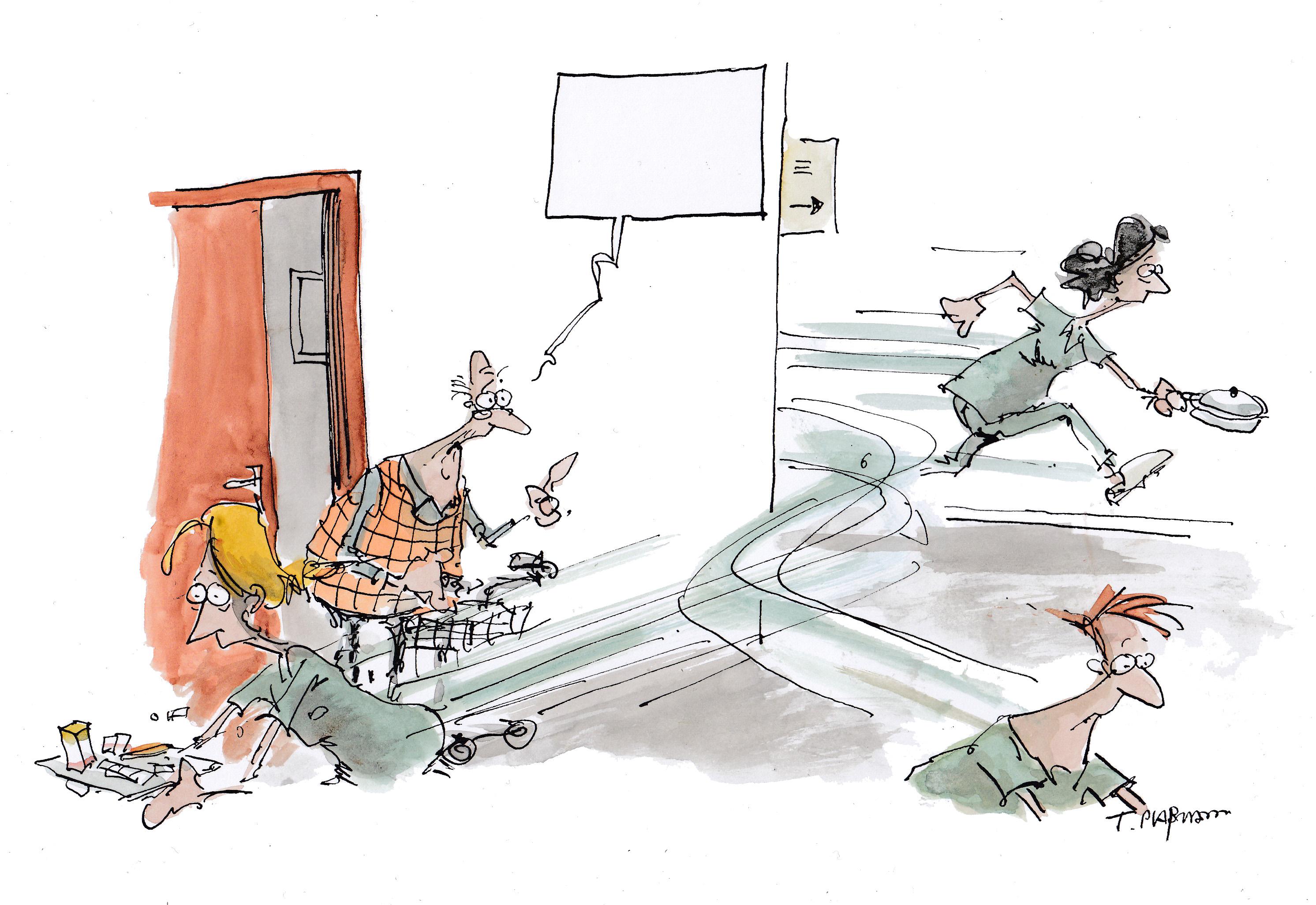 Karikatur von Thomas Plassmann zum Thema Kommunikation im Pflegeheim